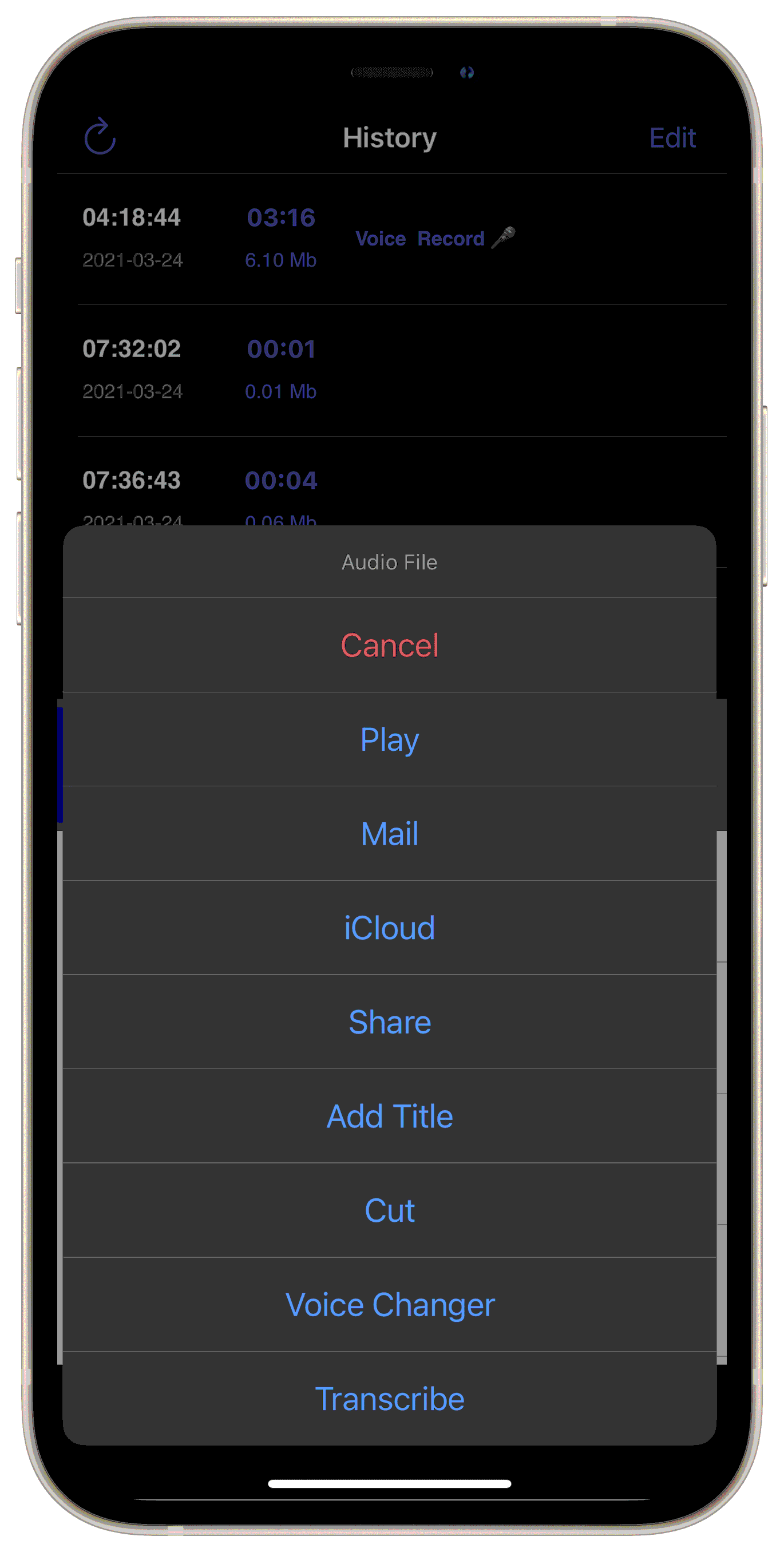 VoiceRecorder Free iPhone screenshot